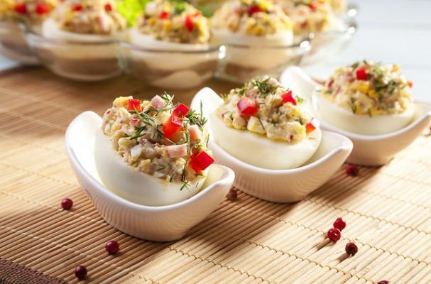 Foodista | Lemon Dill Chicken Salad Stuffed Eggs
