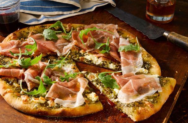 Prosciutto Pizza with Arugula Walnut Pesto