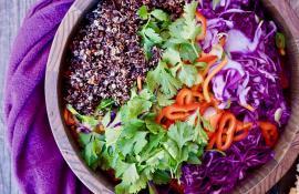 Gluten Free Quinoa Vegetable Slaw with Peanut Dressing