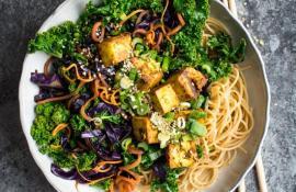 Kale Stir fry with Crispy Tofu